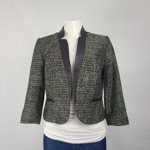 Willi Smith Vegan Leather Trim Tweed Blazer Size 8